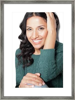 Woman Wearing Green Jumper Framed Print