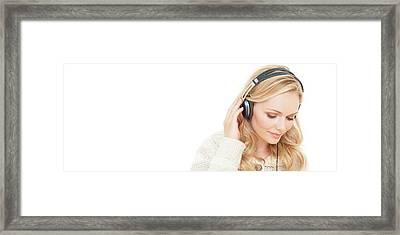 Woman Wearing Headphones Framed Print