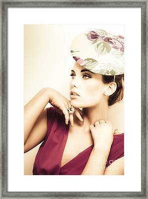 Woman Wearing V-neck Blouse And Floral Hat Framed Print