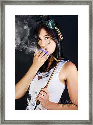Woman Welding Smoking Cigarette Framed Print