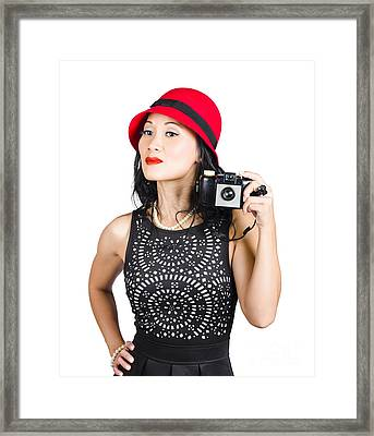 Woman With An Old Camera Framed Print by Jorgo Photography - Wall Art Gallery