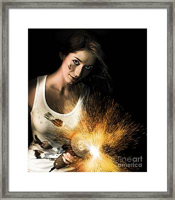 Woman With Angle Grinder Spraying Sparks Framed Print by Jorgo Photography - Wall Art Gallery
