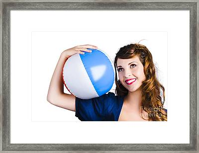 Woman With Beach Ball Framed Print by Jorgo Photography - Wall Art Gallery