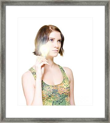 Woman With Bright Idea Framed Print
