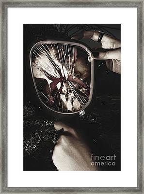 Woman With Broken Mirror And Shattered Reflection Framed Print by Jorgo Photography - Wall Art Gallery