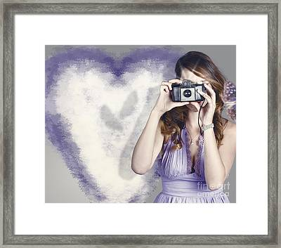 Woman With Camera. Love In A Still Frame Capture Framed Print by Jorgo Photography - Wall Art Gallery