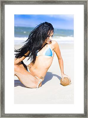 Woman With Coconut Framed Print by Jorgo Photography - Wall Art Gallery