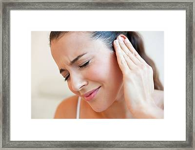 Woman With Earache Framed Print