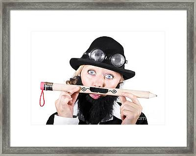 Woman With Fake Beard Holding A Pencil Having Mustache Framed Print by Jorgo Photography - Wall Art Gallery