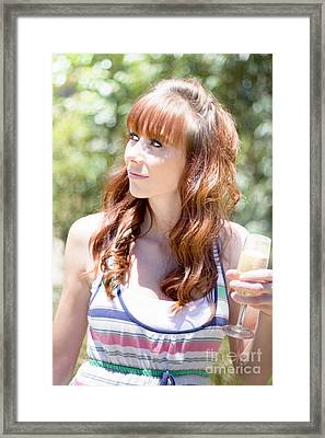Woman With Glass Of Champagne Framed Print by Jorgo Photography - Wall Art Gallery