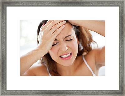 Woman With Hands In Hair Framed Print