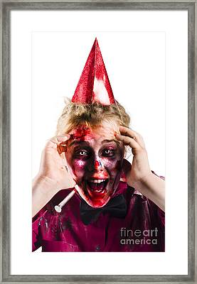 Woman With Horror Make Up And Party Hat Framed Print by Jorgo Photography - Wall Art Gallery