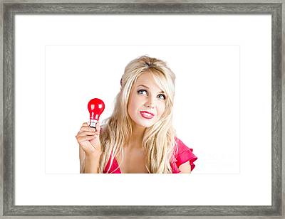 Woman With Idea Framed Print by Jorgo Photography - Wall Art Gallery