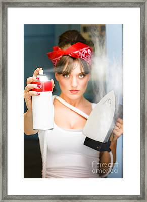 Woman With Iron And Ironing Spray Framed Print by Jorgo Photography - Wall Art Gallery