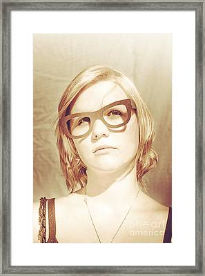 Woman With Large Sunglasses Framed Print