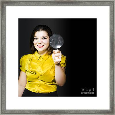 Woman With Magnifier Doing Data Recovery Framed Print by Jorgo Photography - Wall Art Gallery