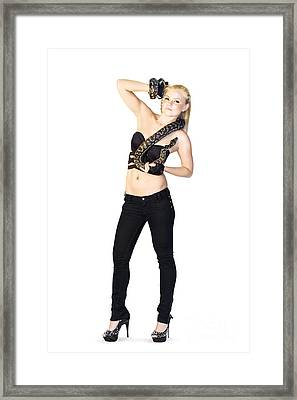 Woman With Pet Snake Framed Print by Jorgo Photography - Wall Art Gallery