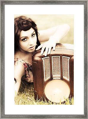 Woman With Retro Radio Framed Print