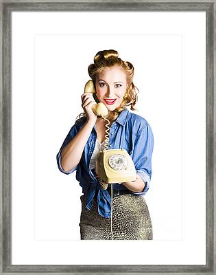 Woman With Retro Telephone Framed Print by Jorgo Photography - Wall Art Gallery