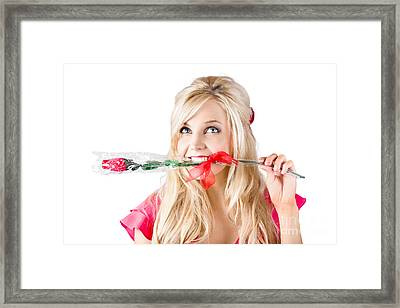 Woman With Rose Between Teeth Framed Print by Jorgo Photography - Wall Art Gallery