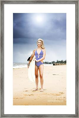 Woman With Surf Board Framed Print