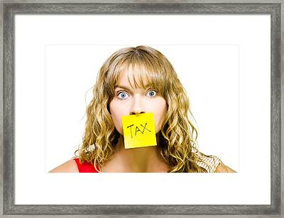 Woman With Tax Note Over Mouth Framed Print by Jorgo Photography - Wall Art Gallery