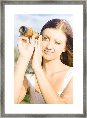 Woman With Telescope Framed Print