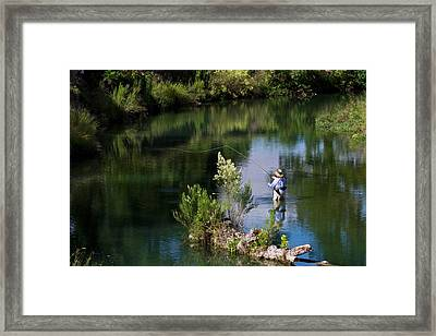 Women Fly-fishing In The South Llano Framed Print by Larry Ditto