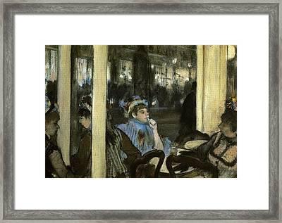Women On A Cafe Terrace Framed Print