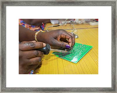 Women On A Solar Workshop Framed Print