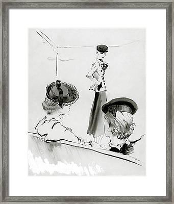 Women Wearing Hats Framed Print by Ren? Bou?t-Willaumez