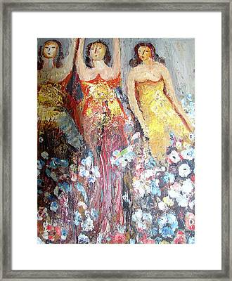Women With Flowers Framed Print by Anand Swaroop Manchiraju