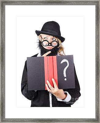 Wondering Woman With Text Book Question Framed Print