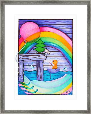 Woobies Character Baby Art Colorful Whimsical Rainbow Design By Romi Neilson Framed Print by Megan Duncanson