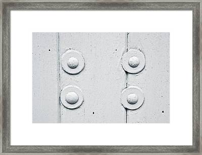 Wood And Bolts Framed Print