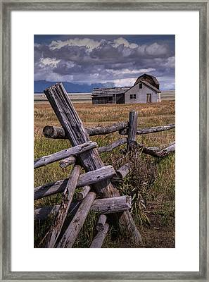 Wood Fence With John Moulton Farm  Framed Print by Randall Nyhof