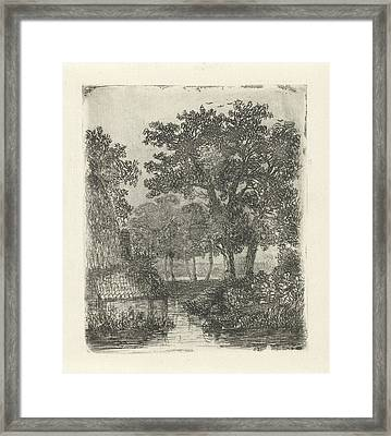 Wooded Area With Streams, Hermanus Jan Hendrik Van Framed Print by Hermanus Jan Hendrik Van Rijkelijkhuysen