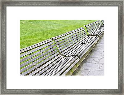 Wooden Benches Framed Print