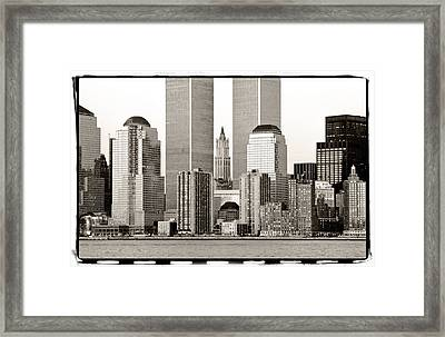 Woolworth Building Between Twin Towers Framed Print by Frank Winters