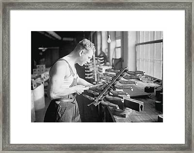 Worker Building Rubber Doll Molds, 1936 Framed Print by Stocktrek Images