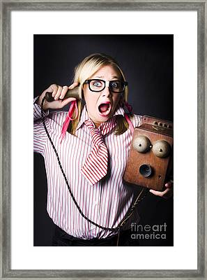 Worker In Shock During Bad News Communication Framed Print