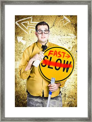Worker Showing Sign To Fast Track Productivity Framed Print