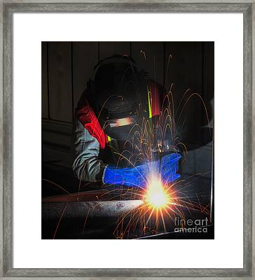 Worker Work Hard With Welding Process  Framed Print