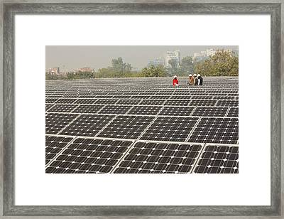Workers At A 1 Mw Solar Power Station Framed Print