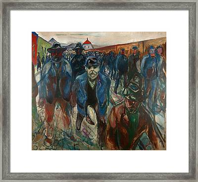 Workers On Their Way Home Framed Print