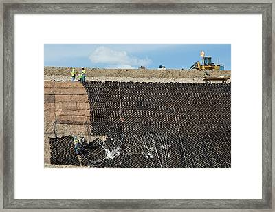 Workers Stabilising A Hillside Framed Print by Jim West