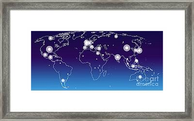 World Economies Map Framed Print by Atiketta Sangasaeng