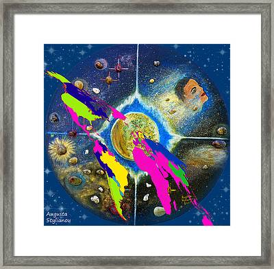 World Map And Barack Obama Stars Framed Print by Augusta Stylianou
