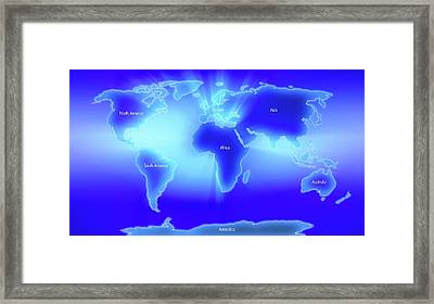 World Map Illustrating The 7 Continents Framed Print