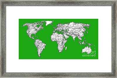 World Map In Green Framed Print by Adendorff Design